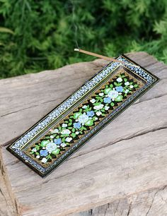 Blue and Gold Lace Incense Holder