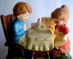 Vintage Music Box Boy and Girl Saying Grace Brother by QVintage, $25.00