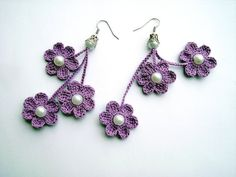 crochet earrings, crochet flower earrings, crochet jewelry, purple flowers on Etsy, $8.00