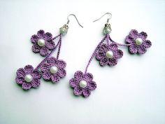 crochet earrings, crochet flower earrings, crochet jewelry, purple flowers on Etsy, $8.00