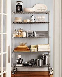 kitchen pantry shelving deserves some tender loving care when it comes to organization. Whether your space is big or small for kitchen pantry shelving Kitchen Rack, Kitchen Organization Pantry, Home Kitchens, Industrial Shelving Units, Pantry Shelving, Kitchen Shelves, Shelving, Kitchen Storage, Industrial Metal Shelving