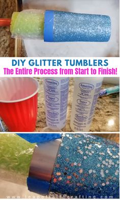 Glitter Tumbler DIY Tutorial You'll Love from Start to Finis.-Glitter Tumbler DIY Tutorial You'll Love from Start to Finish! – Leap of Faith Cra. Tumbler Diy, Diy Tumblers, Custom Tumblers, Tumbler Cups, Glitter Tumblers, Tumbler Quotes, Plastic Tumblers, Personalized Tumblers, Glitter Force