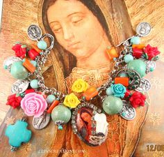 Catholic Virgin Mary Our Lady of Guadalupe, Religious Medals Charm Bracelet #Handmade #PendantHolyMedalsCharms #catholic #bracelet #religious #jewelry #virginmary #ourladyguadalupe