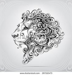 The head of a lion in an ornament