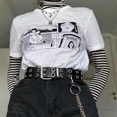 ropa rockera Women's clothes simple casual print T-shirt Aesthetic Grunge Outfit, Aesthetic Fashion, Aesthetic Clothes, Summer Aesthetic, Goth Aesthetic, Aesthetic Vintage, Egirl Fashion, Grunge Fashion, Fashion Outfits