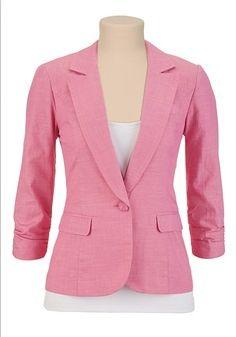 3/4 Sleeve Pink Blazer at couponcutoff.com