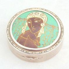 Art Deco Silver Compact, French, c.1930 - 20th Century Silver.  Josephine Baker, perhaps?