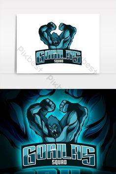 mascote gorilas e logotipo esport elemento gráfico de vetor#pikbest#