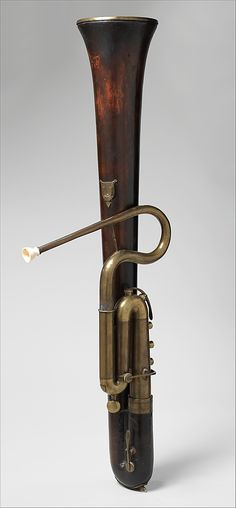 "1825 French Serpent Forveille in B-flat at the Metropolitan Museum of Art, New York - From the curators' comments: ""The serpent, a wide bass brass horn with finger holes that evolved at the end of the sixteenth century, gained importance in band music during the second half of the eighteenth century. Thenceforth, the serpent's unwieldy shape was either modified or converted to upright forms."""