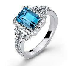 1e7aa243ffa5 Light Blue Cubic Zirconia   Silvertone Emerald Cut Ring by Yeidid
