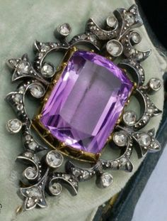 Amethyst, diamond, silver and gold brooch, French, 1870s.