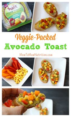 Veggie-packed Avocado Toast makes one simple breakfast or snack. Toast, top, and enjoy in less than 5 minutes from start to finish. to Mom Nutrition- Katie Serbinski, MS, RD Healthy Side Dishes, Good Healthy Recipes, Healthy Breakfast Recipes, Yummy Snacks, Healthy Snacks, Snack Recipes, Delicious Recipes, Appetizer Recipes, Diet Recipes