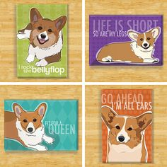 Red Pembroke Corgi Dog Breed Magnet Set by PopDoggie on Etsy
