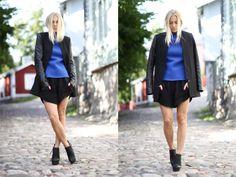Whole outfit - alexander wang shorts + blazer w/ leather details + cobalt blue