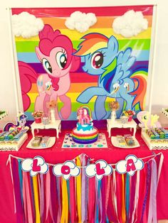 Colorful dessert table at a My Little Pony birthday party! See more party ideas at CatchMyParty.com!