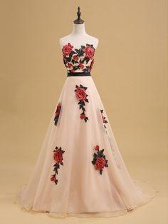 Beautiful Prom Dresses Sweetheart A-line Sweep Train Embroidery Organza Long Prom Dress JKL721
