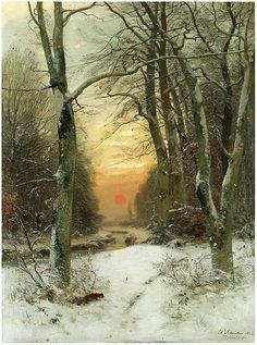 ✨ Wilhelm Schröter, German (1849-1904) - WINTER-LANDSCHAFT 1882 ::: WINTER LANDSCAPE,  signed and dated, Düsseldorf, oil on canvas, 101 x 74.5cm., 39¾ by 29¼in.