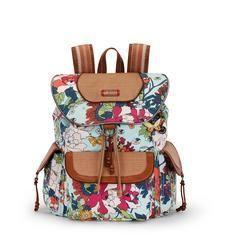 Artist Circle Flap Backpack - Seafoam Flower Power
