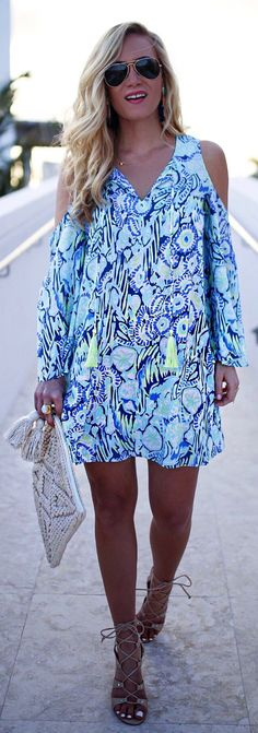 #spring #outfits  White Printed Dress & Nude Sandals