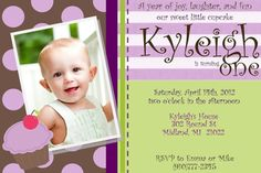 Purple Cupcakes 1st Birthday Invitation