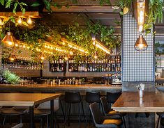Outdoor Restaurant Design, Eclectic Restaurant, Restaurant Layout, Restaurant Interior Design, Exposed Concrete, Concrete Floors, Resto Vegan, Smoothie Bar, Vegan Chef