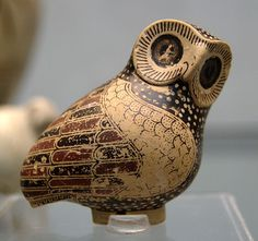 Ancient & Medieval History : Greek Proto-Corinthian Owl Aryballos, c. 630 BC  Proto-Corinthian style Greek pottery is a style that flourished at Corinth during the Oriental period (c. 725–c. 600 BC).