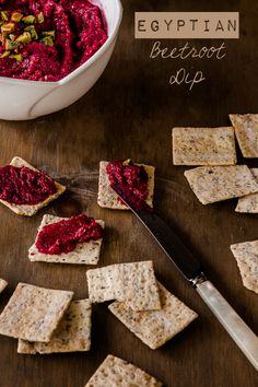 This Egyptian Beetroot Dip recipe combines spices like cumin, coriander, and cinnamon, and a dollop of yogurt with roasted garlic. Beetroot Recipes, Beetroot Dip, Pesto, Dip Recipes, Cooking Recipes, Egyptian Food, Egyptian Recipes, Egyptian Party, Gluten Free Appetizers