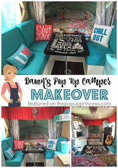 The mix of colors and patterns lends a wonderful Bohemian theme to Dawn's pop up camper remodel, and everything was done on a budget, too.