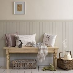 Panelling is an easy way to add character to a hallway. This 3/4 style looks great in neutral tones paired with rabbit-themed accessories