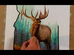Drawing a bull elk - time-lapse art  #elk #deer #antlers #wildlifeart #timelapse #drawing