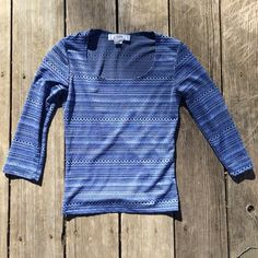 Obe Blue Crop Top Cute Obe long sleeve crop top. Tag says small but will fit x-small. Will bundle. Obe Tops Crop Tops