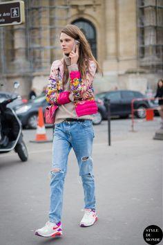 yeah. that bomber doesn't quit. #CarolineBraschNielsen #offduty in Paris.