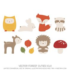 Autumn / Fall Illustrations! Vector Forest Cuties {CU} -- could turn these into appliqués or artwork for nursery