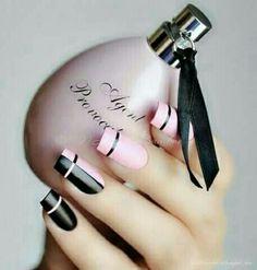 Nice pink and black nail Polish