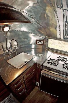 Galley kitchen in old Airstream camper. Airstream Bambi, Airstream Vintage, Airstream Campers, Airstream Remodel, Airstream Renovation, Airstream Interior, Camper Trailers, Airstream Living, Trailer Interior