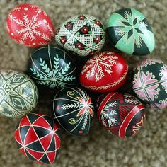Pysanky Ukrainian Easter Egg Red 40 Triangles by JustEggsquisite
