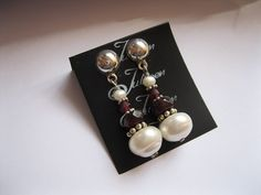 11 mm White Pearl and Red Garnet Sterling Silver Drop Earring