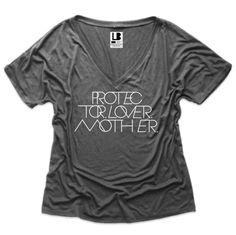 Interlock Protector.Lover.Mother® | Dark Grey VNeck Tee