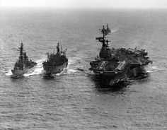 The Jungle War - October 1965 - USS Aludra (AF 55) Coral Sea (CVA 43) USS Cochrane (DDG 21) off the coast of Vietnam