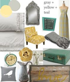 Gray yellow and teal palette.