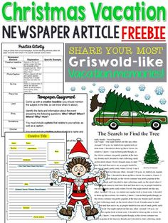 Get ready! Cousin Eddie is on his way! Are your Christmas vacations Griswold worthy? Have your students share their memories about their winter holiday vacations, while at the same time, learning the proper format of a newspaper article. High School Activities, Christmas Activities, Writing Activities, Writing Ideas, Christmas Games, Christmas Crafts, Middle School Ela, Middle School English, Christmas Writing