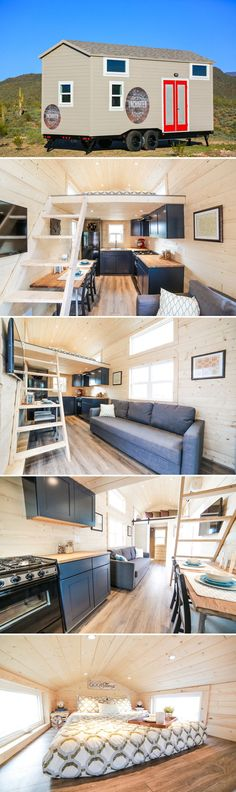 The Mansion was built by Phoenix, Arizona-based Uncharted Tiny Homes. The 24′ tiny house comes equipped with two bedroom lofts, a dining table/desk, and a 64-square-foot L-shaped kitchen.