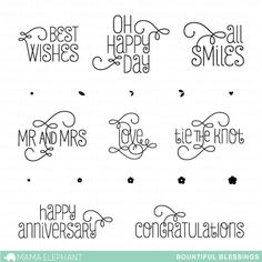 Mama Elephant Clear Stamp BOUNTIFUL BLESSINGS Set ME1406-072 at Simon Says STAMP!  --$15