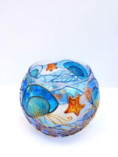 Jellyfish Vase Candle holder Tea light Glass by OrdinaryWWonders