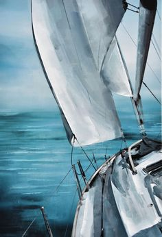 Sail Away Canvas Painting Acrylic Painting Tutorials, Acrylic Painting Canvas, Painting Techniques, Watercolor Paintings, Canvas Art, Canvas Paintings, Water Pictures, Water Pics, Sailing Pictures
