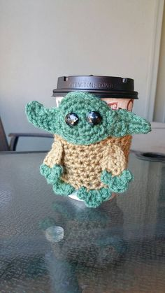 Crocheted Yoda Coffee Cozy - READY TO SHIP