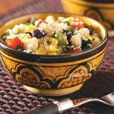 Confetti Couscous Salad Recipe -Bursting with color and flavor, this delightful side dish will take any entree up a notch. Suzanne Kesel — Cohocton, New York