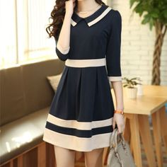 Cheap Large Size Korea Casual Dress Party Elegant Peter Pan Collar Junior Preppy Cute Dresses For
