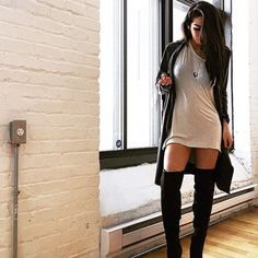 thigh high socks! with a longer dress though