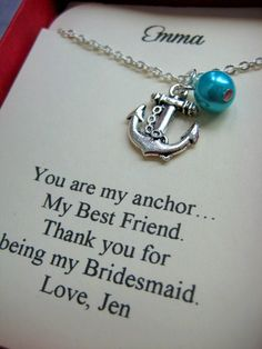 Anchor Bridesmaids Gift Necklace, Free Personalized Card Jewelry Box. Other Pearl Color Available.. $15.00, via Etsy.